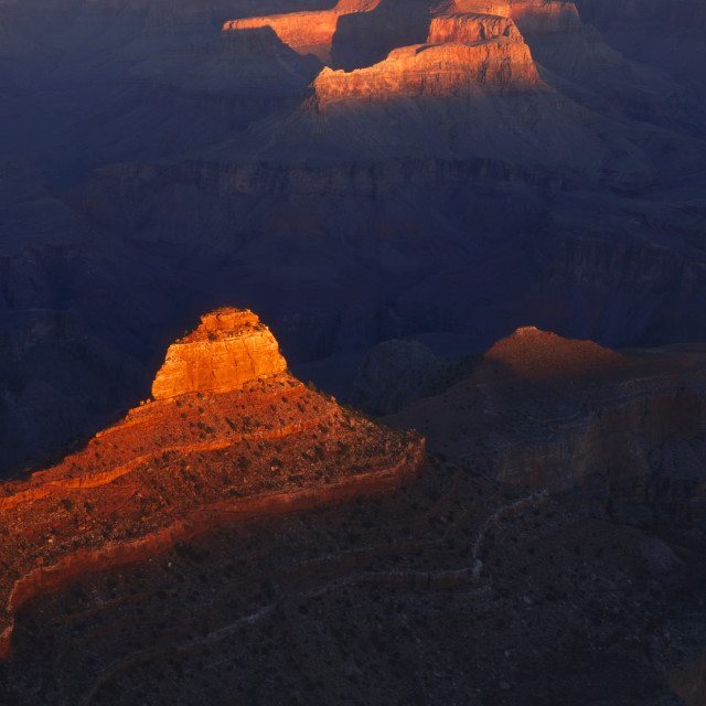 """O Neill Butte from Yaki Point at Sunrise Grand Canyon Arizona USA"" stock image"