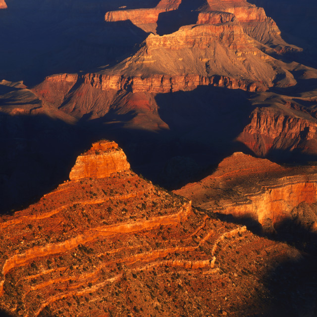 """O Neill Butte from Yaki Point at Sunrise Grand Canyon"" stock image"