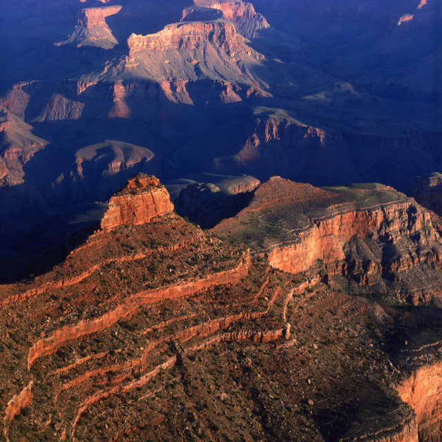 """O Neill Butte from Yaki Point Grand Canyon"" stock image"
