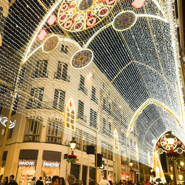 """""""Christmas lights decorations, arch, Calle Larios, Malaga city, Andalusia, Spain."""" stock image"""