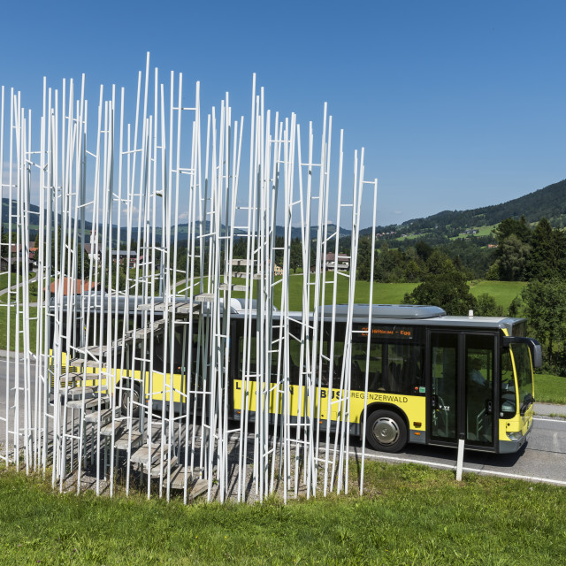 """Krumbach Bus Stop with Bus Sou Fuijmoto"" stock image"