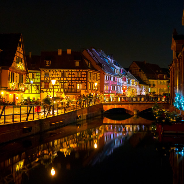 """Colmar town night lights"" stock image"