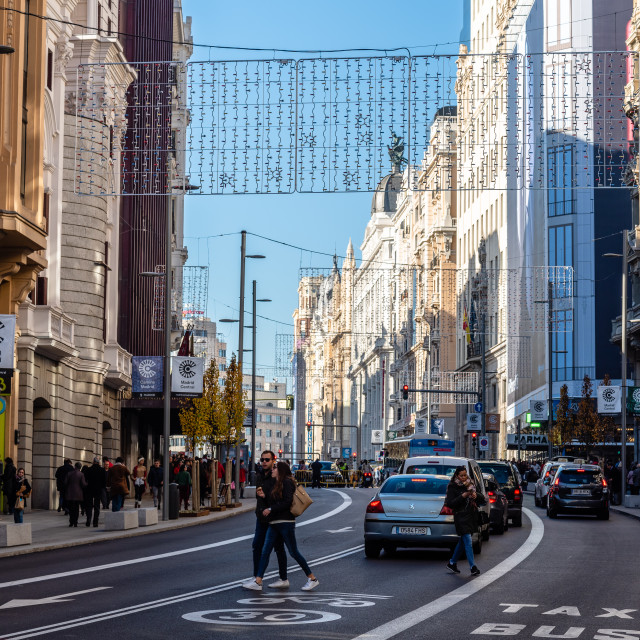 """""""Gran Via Avenue with Christmas decoration in Madrid"""" stock image"""