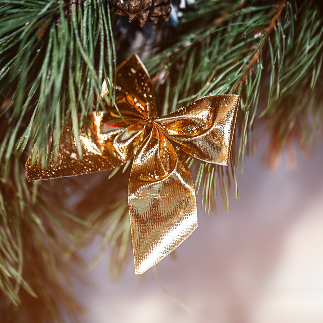 """""""Christmas fir-tree, bow for the design of a new year postcard. Flare copy..."""" stock image"""