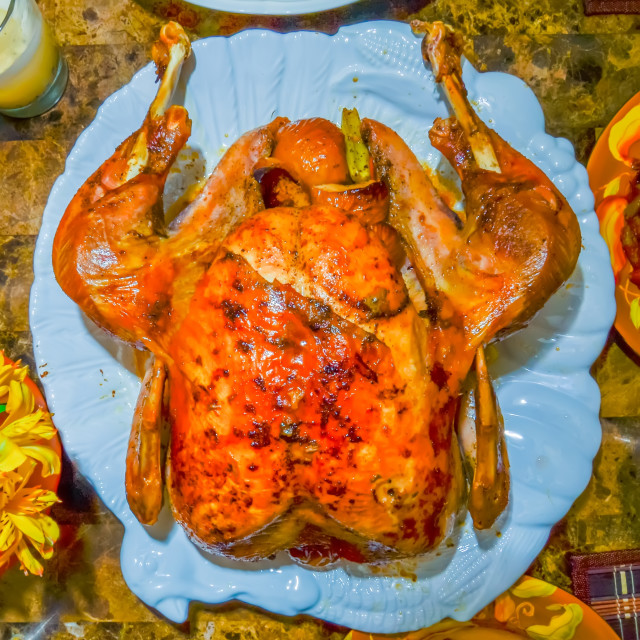 """""""table set up before thanksgiving dinner"""" stock image"""