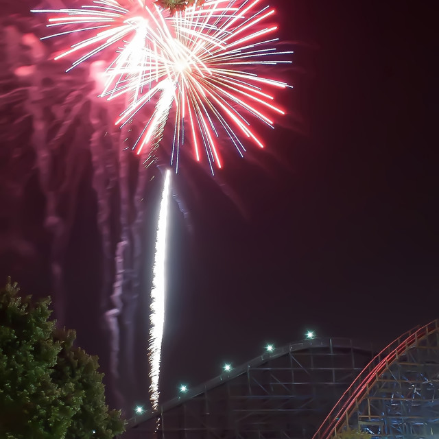 """fireworks at amusement park"" stock image"