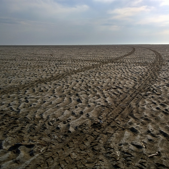 """Southport Beach Tyre Tracks"" stock image"