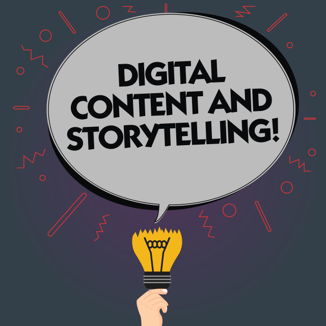 """""""Word writing text Digital Content And Storytelling. Business concept for..."""" stock image"""