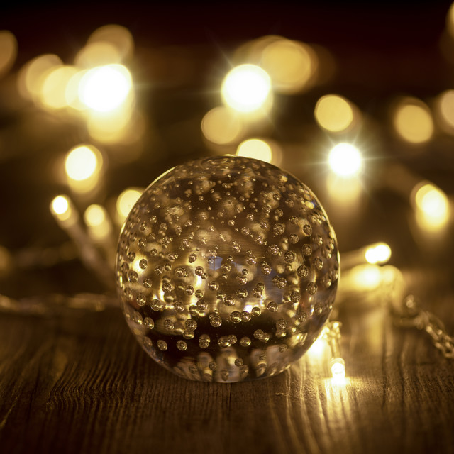 """""""Glass ball with fairy lights"""" stock image"""
