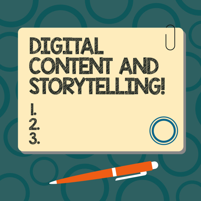 """""""Text sign showing Digital Content And Storytelling. Conceptual photo..."""" stock image"""