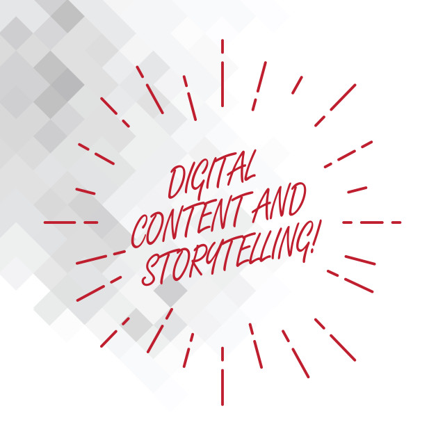 """""""Conceptual hand writing showing Digital Content And Storytelling. Business..."""" stock image"""