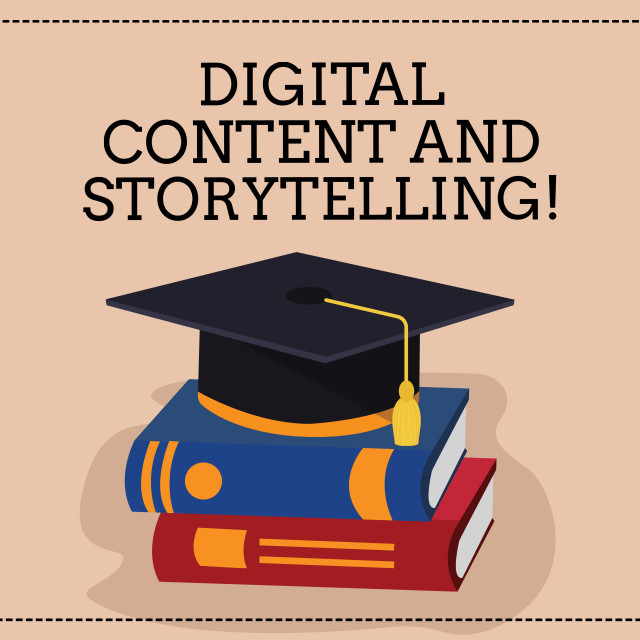 """""""Handwriting text writing Digital Content And Storytelling. Concept meaning..."""" stock image"""