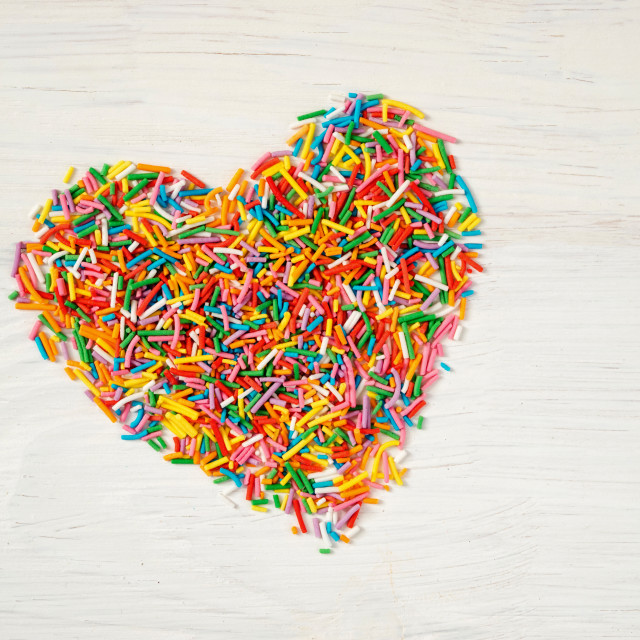 """""""heart-shape from candy confetti"""" stock image"""