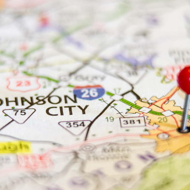 """""""Johnson City in Tennessee on map"""" stock image"""