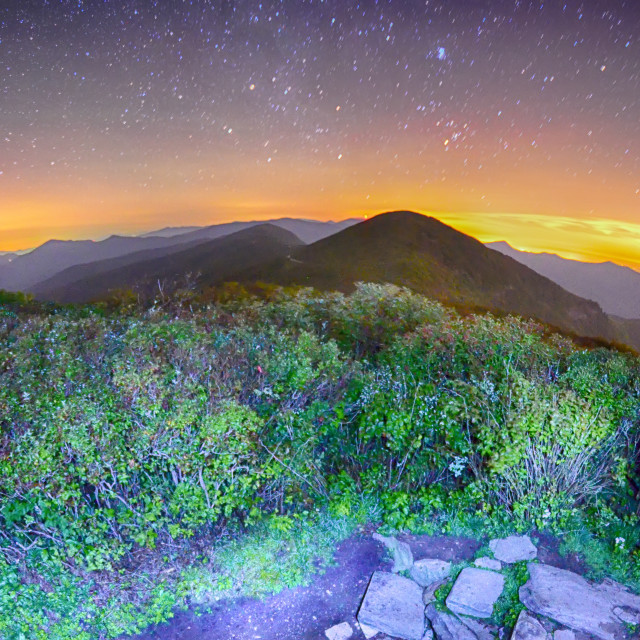 """""""View of the Appalachians from Craggy Pinnacle near the Blue Ridge Parkway..."""" stock image"""