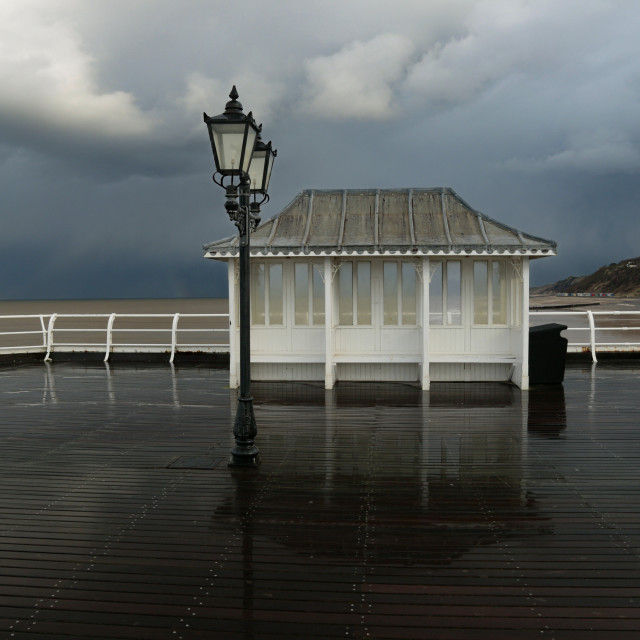 """Stormy day at Cromer Pier"" stock image"