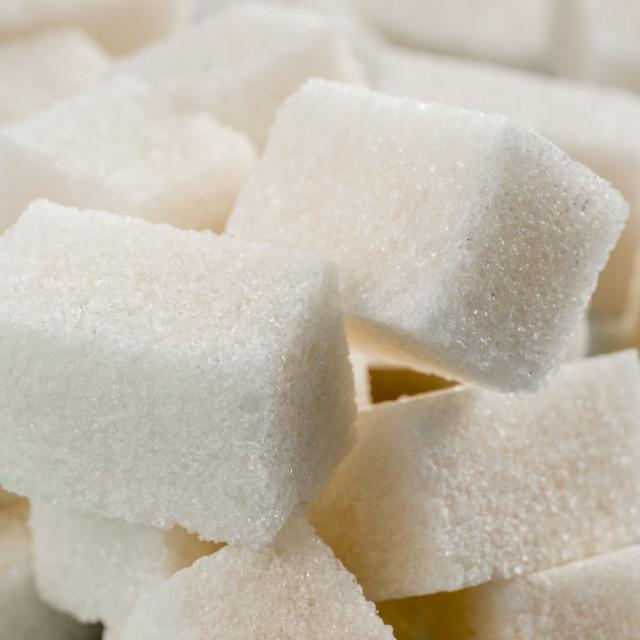 """background of white sugar cubes"" stock image"