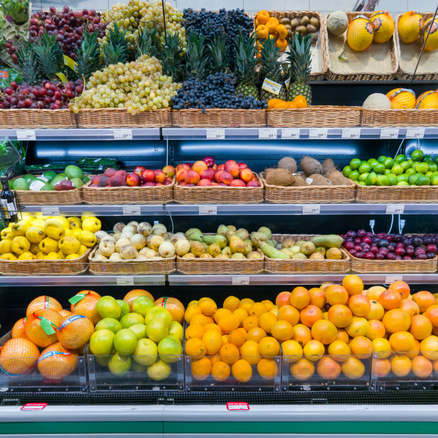 """Fresh fruits and vegetables on shelf in supermarket"" stock image"