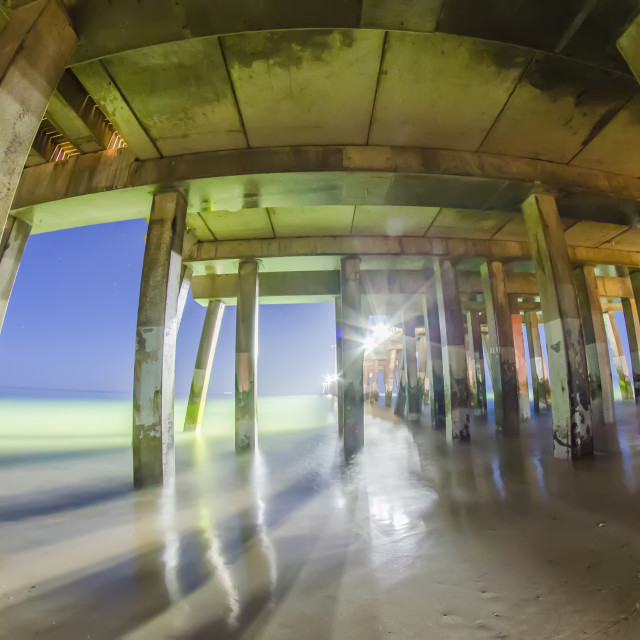 """""""midnight at nags head pier and beach scenes"""" stock image"""