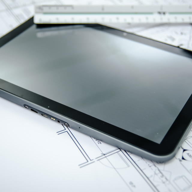 """""""tablet and architectural construction design document tools background"""" stock image"""