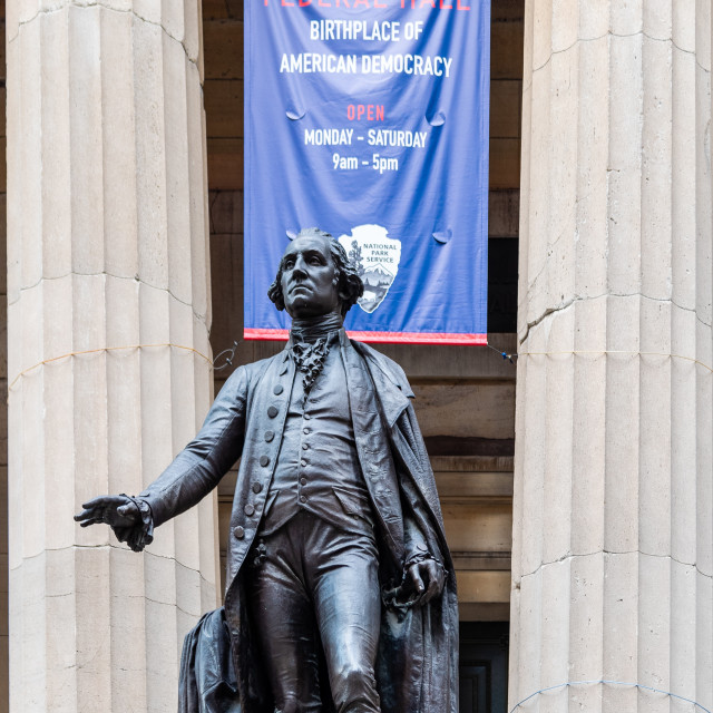 """""""George Washington statue in Federal Hall in New York"""" stock image"""