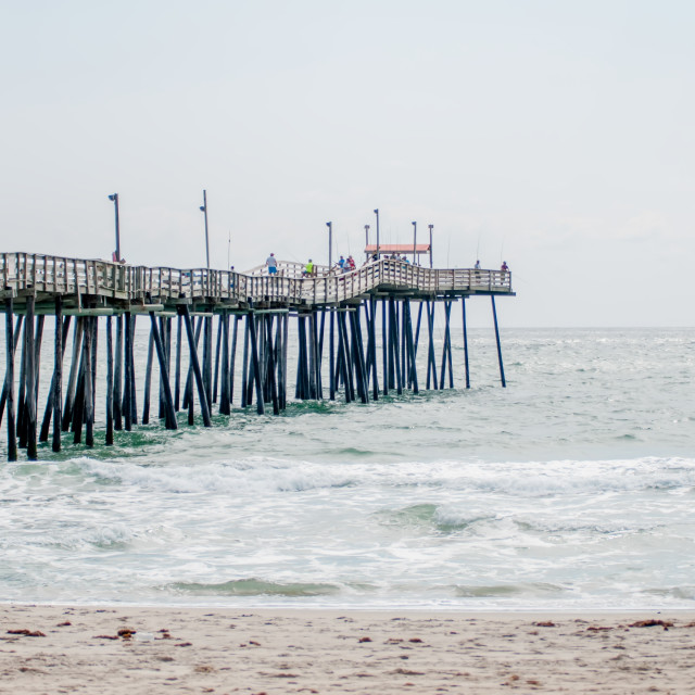 """""""at fishing pier on the Outer Banks, North Carolina"""" stock image"""