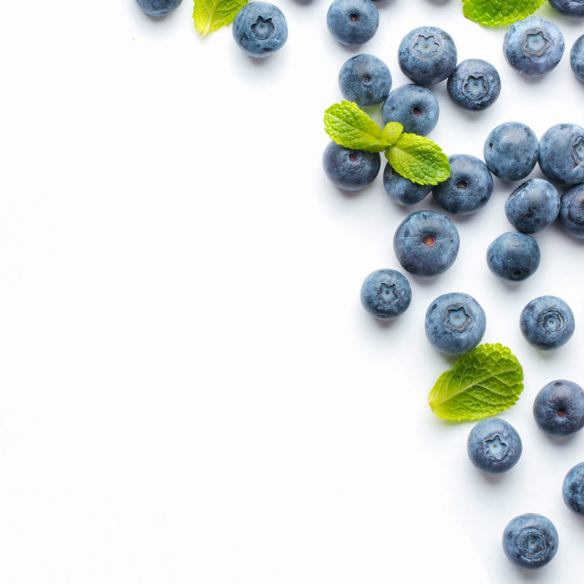 """Blueberries isolated on white background"" stock image"