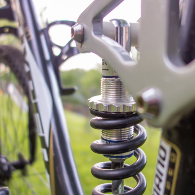 """""""suspension close up of a mountain bicycle"""" stock image"""