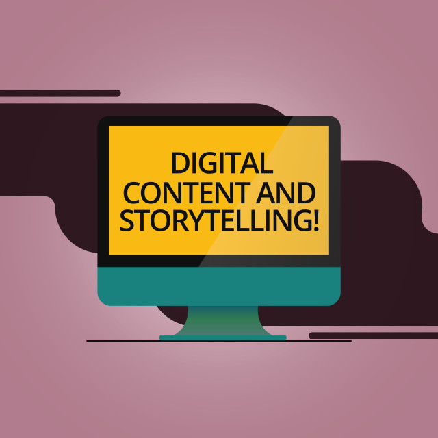 """""""Handwriting text Digital Content And Storytelling. Concept meaning Marketing..."""" stock image"""