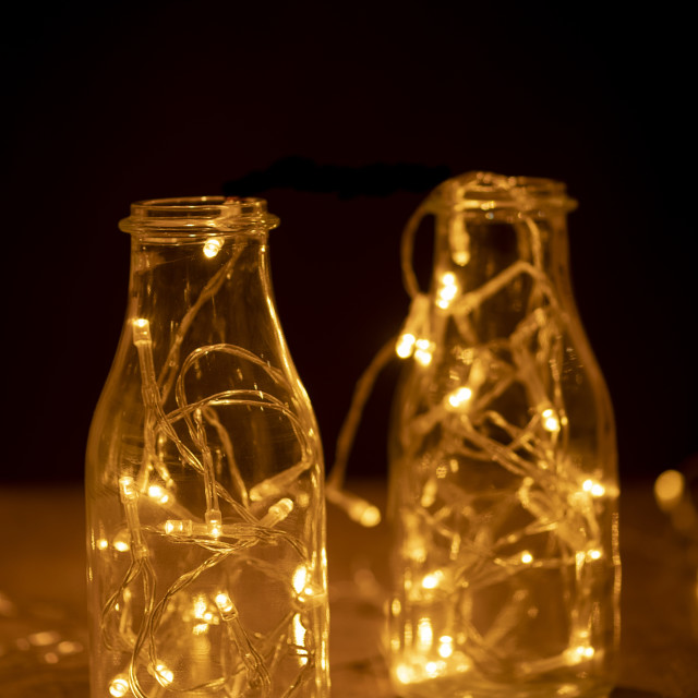"""""""glass jars with fairy lights"""" stock image"""