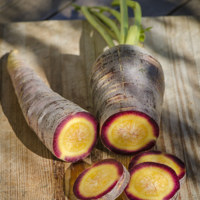"""""""Spanish Purple carrots, A speciality from the Cuevas Bajas Region in the province of Malaga, Spain."""" stock image"""