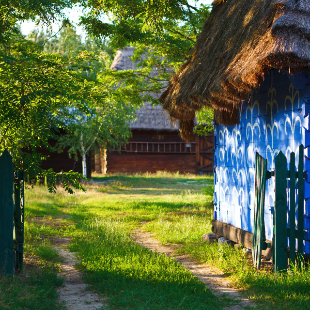 """""""Gate to the yard of old traditional polish """"lowicz"""" house"""" stock image"""