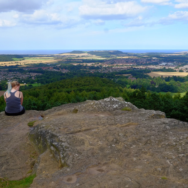 """Guisborough viewed from Hanging Stone"" stock image"