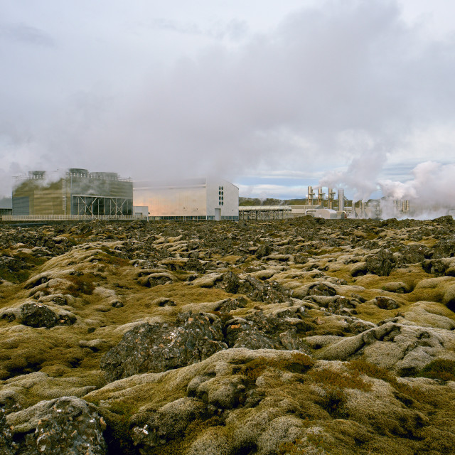 """A geothermal power plant in an Icelandic lava field."" stock image"