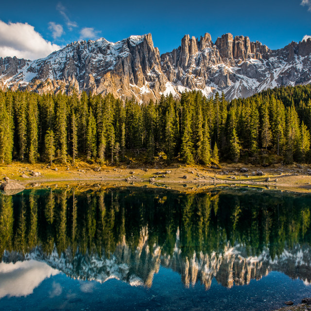 """Carezza Lake - Dolomites"" stock image"