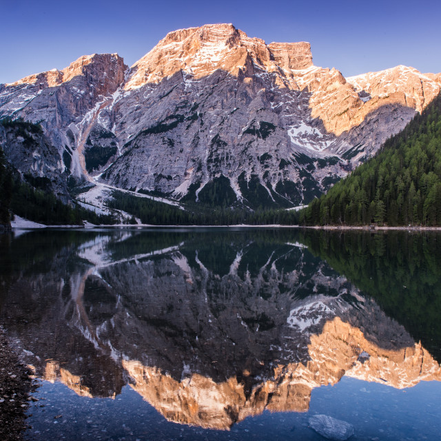 """Braies Lake - Dolomites"" stock image"