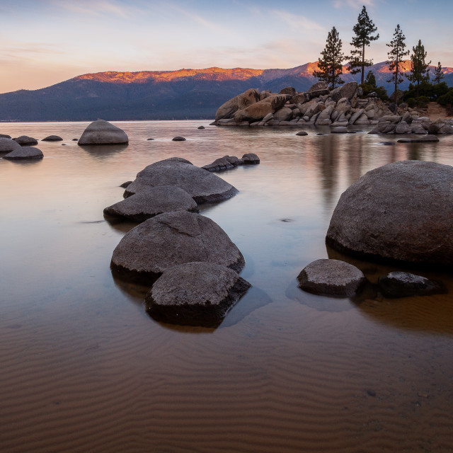 """Tahoe Lake Sunrise"" stock image"