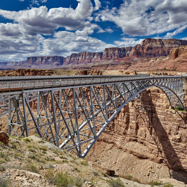 """Navajo Bridge, Marble Canyon and Vermillion Cliffs"" stock image"