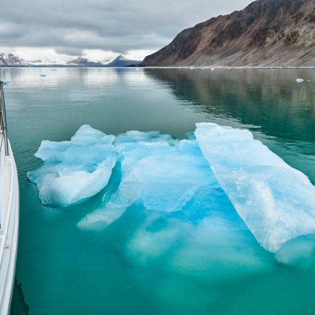 """""""sail ship in front of ice floe of glacier Kollerbreen"""" stock image"""
