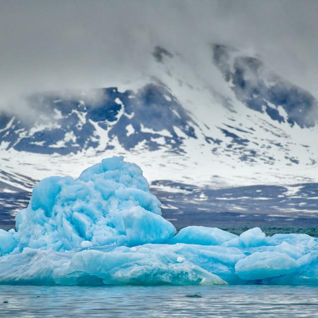 """ice floe of glacier Kollerbreen"" stock image"