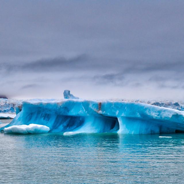 """blue ice of Kronebreen or Crown glacier"" stock image"