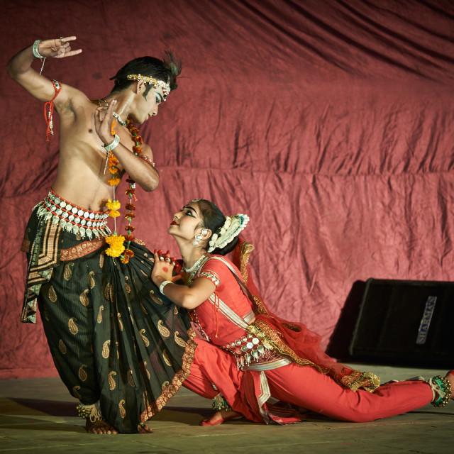 """traditional indian dance during Puskar Mela"" stock image"
