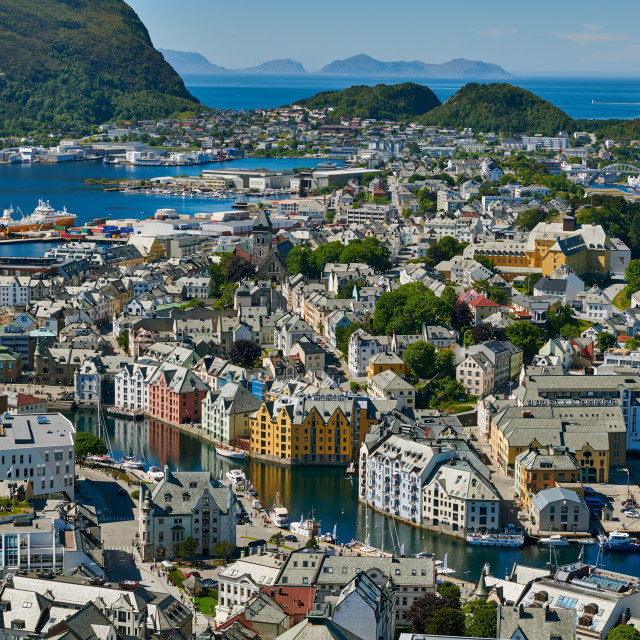 """""""View from Aksla hill over Alesund,Byrampen"""" stock image"""