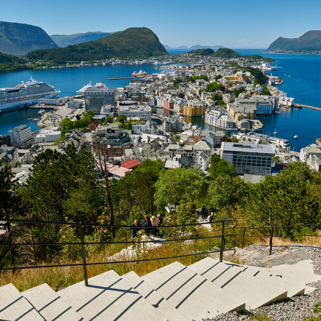 """""""View from Aksla hill over Alesund"""" stock image"""