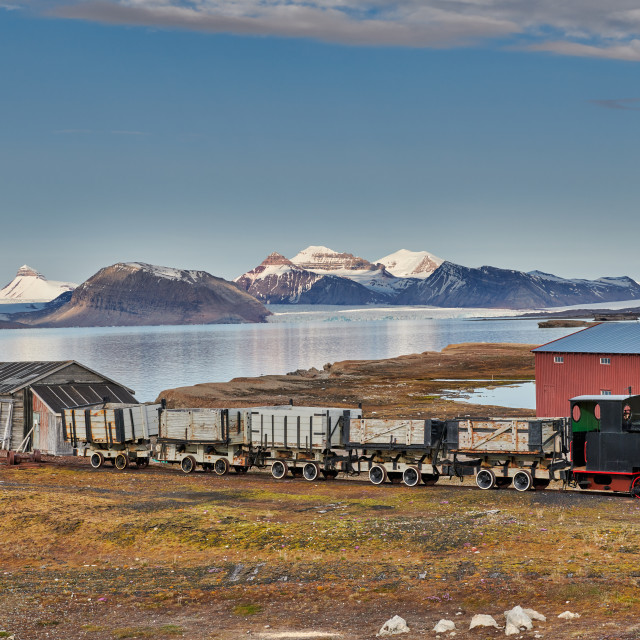 """""""old coal train and landscape from Ny Alesund"""" stock image"""