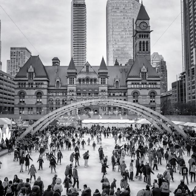 """Happy Skating: Nathan Phillips Square, Toronto, Canada"" stock image"