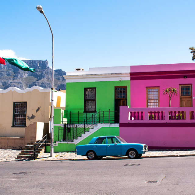 """""""Iconic Bo Kaap in Cape Town"""" stock image"""