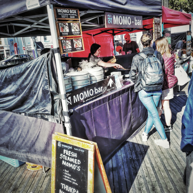 """""""Momo Bar- street food stall"""" stock image"""