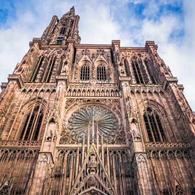 """""""Front facade of Notre Dame Cathedral of Strasbourg, France"""" stock image"""