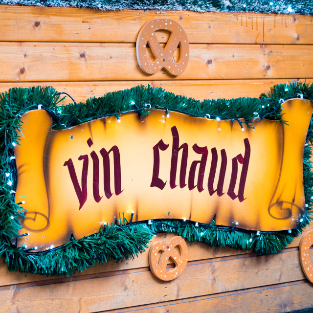 """""""Vin chaud, hot mulled wine ensign"""" stock image"""